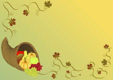 Cornucopia illustration. Background with fall leaves and vine Royalty Free Stock Photos