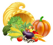 Cornucopia Illustration. Thanksgiving or golden horn of plenty cornucopia full of vegetables and fruit produce Royalty Free Stock Photos