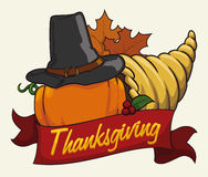 Cornucopia with Pumpkin and Pilgrim Hat , Vector Illustration Royalty Free Stock Images