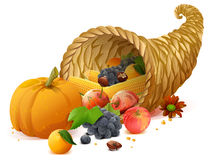 Cornucopia rich harvest on day of Thanksgiving Stock Images