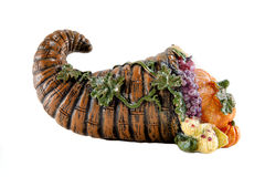 Cornucopia. A Thanksgiving cornucopia against a white background Stock Photography