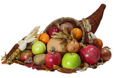 Cornucopia. Thanksgiving cornucopia horn of vegetables and fruits harvested over white background Stock Photos