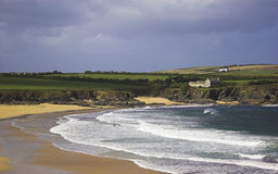 Cornwall Beach. A view across Harlyn Sands beach in North Cornwall Stock Image