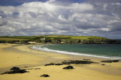 Cornwall Beach England Europe. Looking across Harlyn Sands in North Cornwall Stock Photos