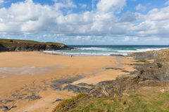 Cornwall beach Treyarnon Bay England UK Cornish north coast between Newquay and Padstow Royalty Free Stock Image