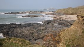 Cornwall coast and Godrevy lighthouse England UK Stock Image