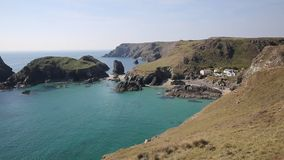 Cornwall coast Kynance Cove The Lizard England UK on a beautiful sunny summer day with blue sky and sea. Kynance Cove The Lizard near Helston Cornwall England UK stock video footage