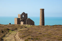 Cornwall coast path and tin mine England UK Royalty Free Stock Photography