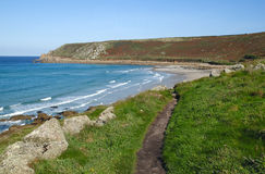 Cornwall coast path to Gwynver beach. Stock Image