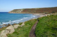 Cornwall coast path to Gwynver beach. Stock Image
