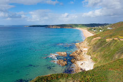 Cornwall coast Praa Sands view west towards Penzance and Mousehole Royalty Free Stock Photos