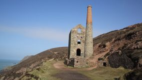Cornwall coast tin mine England UK stock footage