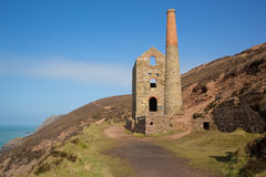 Cornwall coast and tin mine England UK Stock Photography