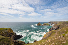 Cornwall Coast with waves. Cliffs in Cornwall with waves Stock Photography