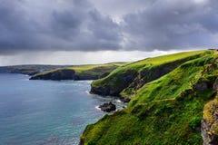 Cornwall coastline. Beautifull coast footpath at Cornwal UK Royalty Free Stock Photo