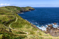 Cornwall coastline. Beautifull coast footpath at Cornwal UK Stock Photo