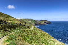 Cornwall coastline. Beautifull coast footpath at Cornwal UK Royalty Free Stock Image