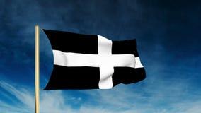 Cornwall de stijl van de vlagschuif Het golven in de winst met stock video
