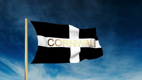 Cornwall de stijl van de vlagschuif met titel Binnen het golven stock video