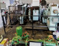 Cornwall, England - April 8 2018: Industrial pumping engine in t. He pithead of a Cornish tin mine Stock Image