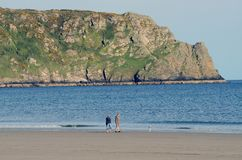 Cornwall England Beach Couple With Dog Tom Wurl Royalty Free Stock Photo