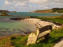 Cornwall England strandöar av den Scilly Tresco ön Arkivbild