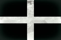 Cornwall Flag. Vintage, grunge effect Cornwall Flag also known as St Piran's Flag Stock Images