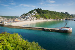 Cornwall harbour wall Looe England UK Royalty Free Stock Photos