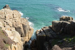 Cornwall, Minack Theatre, UK. A view from Minack Theatre into turquoise sea Stock Photo