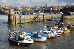 Cornwall - Newquay Harbor - United Kingdom. Fishing boats in Newquay Harbor in Cornwall in the United Kingdom stock photo