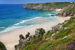 Cornwall Porthcurno Beach  from logan rock Royalty Free Stock Image