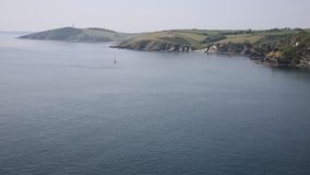 Cornwall River Fowey entrance and coast from Polruan Stock Photo