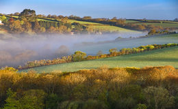 Cornwall , South West England. A beautiful Cornish landscape at the sunrise in the South West England in the County of Cornwall Stock Photography