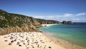 Cornwall strand, Porthcurno strand, England Arkivbilder