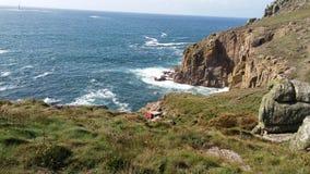 Cornwall wybrzeże, widok na ocean w słonecznym dniu Obraz Stock