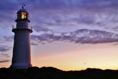 Corny Point lighthouse. The Corny Point lighthouse was completed in 1882 and made from local sandstone. It was de-manned in 1920 but continued to shine till stock image
