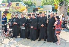 Coro búlgaro de la iglesia en la abertura del festival de la música ortodoxa en búlgaro Pomorie Imagenes de archivo