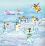 Coro celestial dos anjos que canta no céu ilustração do vetor