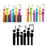Coro de notas y de llaves del piano Imagen de archivo