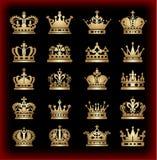 Coroa. Ícones da coleção. Vetor. Fotografia de Stock