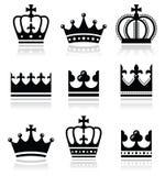 Coroa, ícones da família real ajustados Fotos de Stock Royalty Free