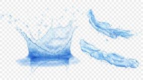A coroa da água e espirra ilustração stock