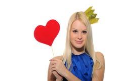 Coroa da mulher e varinha desgastando da mágica fora do coração Fotos de Stock Royalty Free