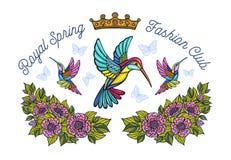 A coroa das borboletas dos colibris floresce o remendo do bordado humming imagens de stock