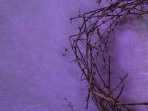 Coroa de espinhos no fundo roxo foto de stock