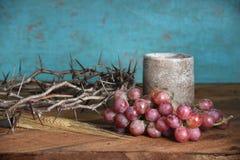 Coroa de uvas e de copo dos espinhos Imagem de Stock