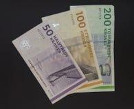 Coroa dinamarquesa & x28; DKK& x29; notas, moeda de Dinamarca & x28; DK& x29; Fotografia de Stock