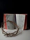 A coroa do leid do espinho em uma Bíblia Imagem de Stock