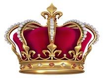 Coroa do ouro com jóias Fotos de Stock