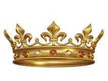 Coroa do ouro com jóias Fotografia de Stock